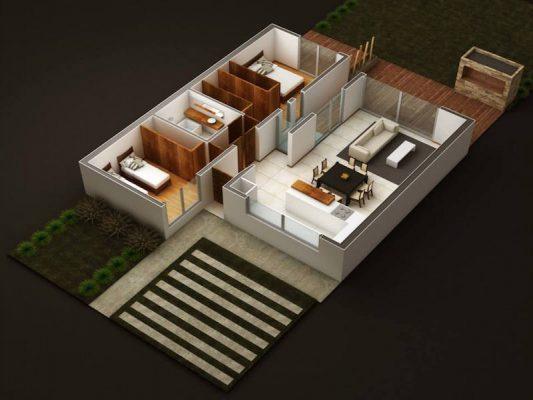 Croquis Design - Vue Axonométrique - Appartement 01