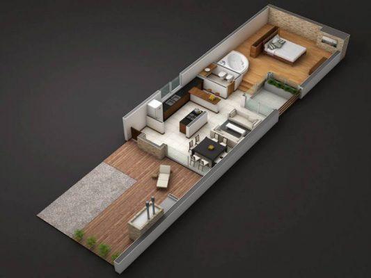 Croquis Design - Vue Axonométrique - Appartement 02
